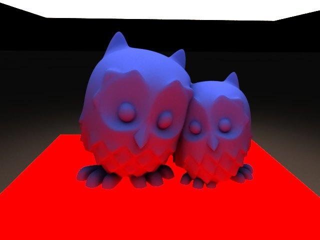 'Cuddling Owls (VRay)' by Petey - 3D Model