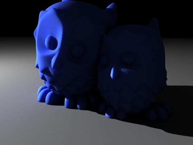 'Cuddling Owls (VRay)' by alejo77 - 3D Model